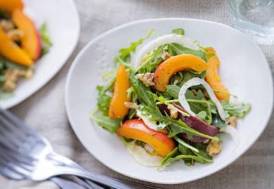 Salade d'abricots, fenouil, magret et roquette