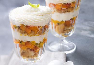 Trifle d'abricot, passion et basilic