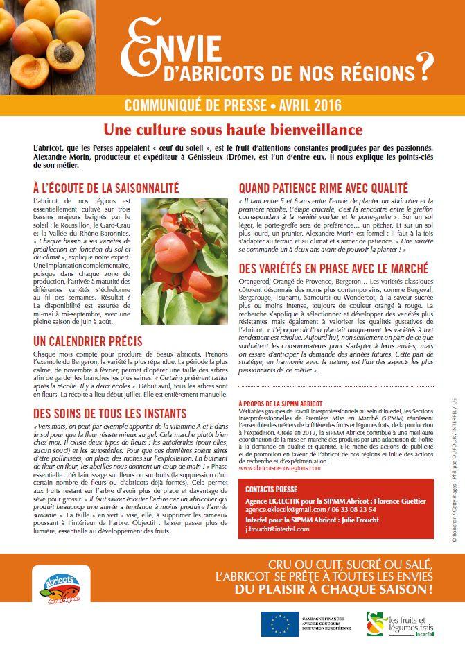 Communiqué de presse abricots de nos régions - avril 2016